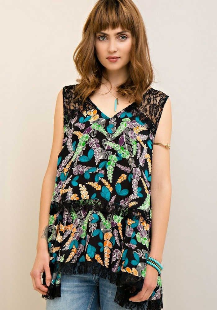 Vivid Floral Shirt Dress with Black Lace Detailing