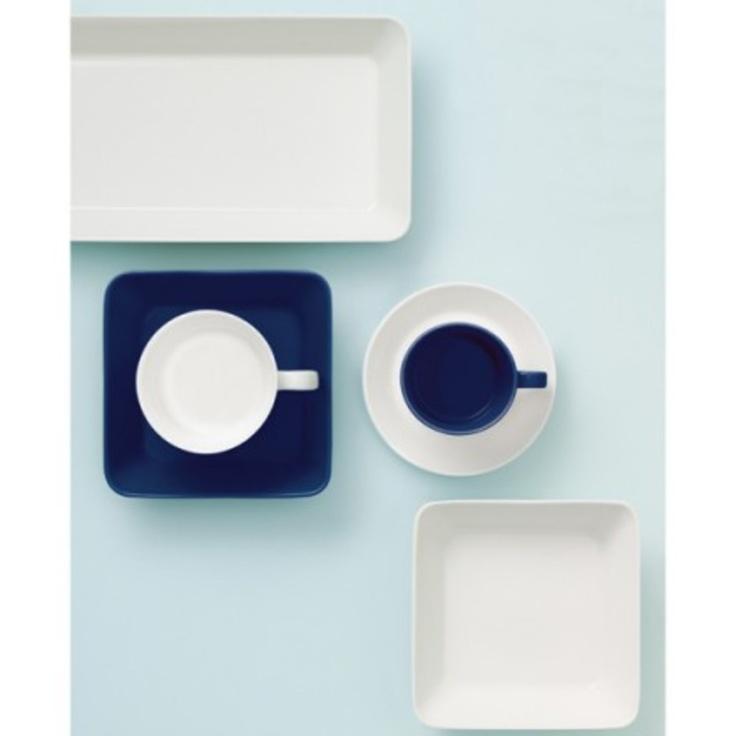#miseczka, #taca, #kubek z kolekcji #Teema w kolorach białym i niebieskim