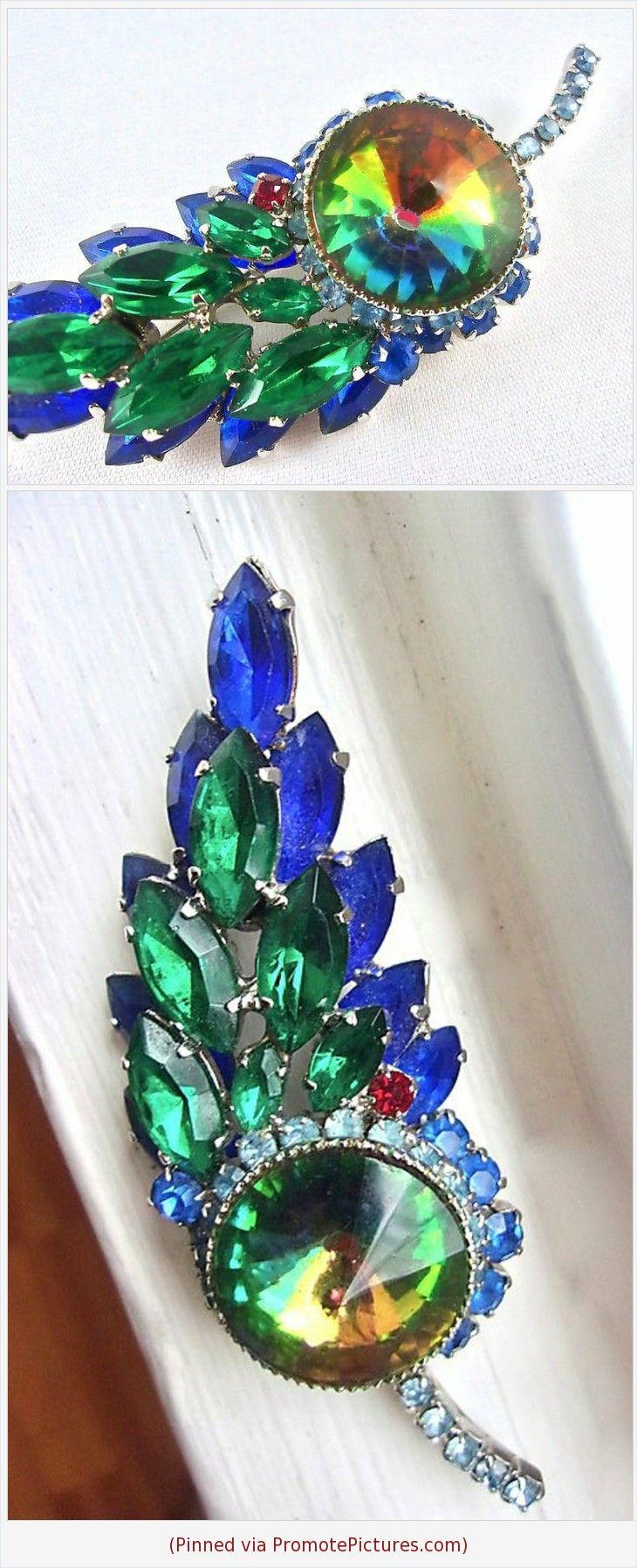 Vintage Blue Tassel Brooch Art Deco Blue Rhinestone Tassel Brooch