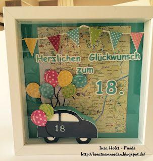 Kreativ im Norden: 18. Geburtstag , Ribba Rahmen , Tante Ema Kosmetiktasche mit Pinselfächern