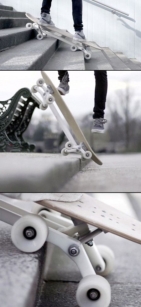 Innovative 8-Wheeled #Skateboard Can Tackle #Stairs with Ease! #Stair_Rover