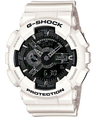 G-Shock Watch, Men's Analog-Digital White Resin Strap 51x55mm GA110GW-7A