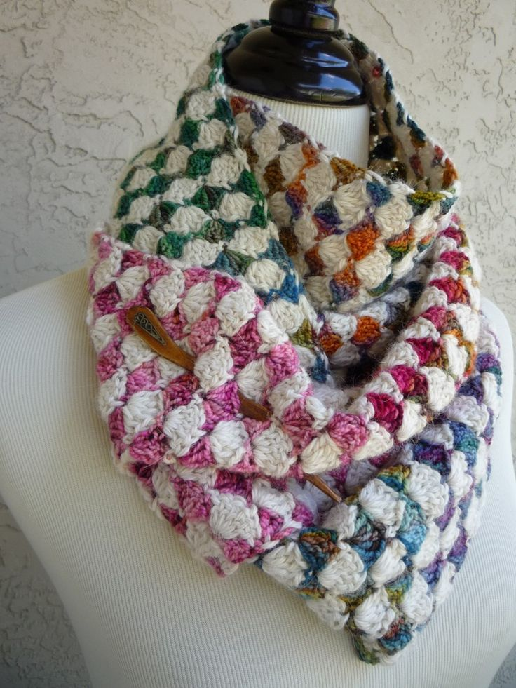 shell stitch (?) scarf with creme and variegated yarn......The Diamond Exchange Crochet Scarf - PATTERN / PDF for sale