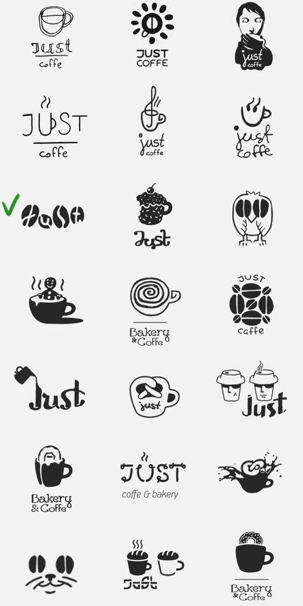 coffee beans as VMP icon - cafe logo - Just  Cafe logo and visual identity