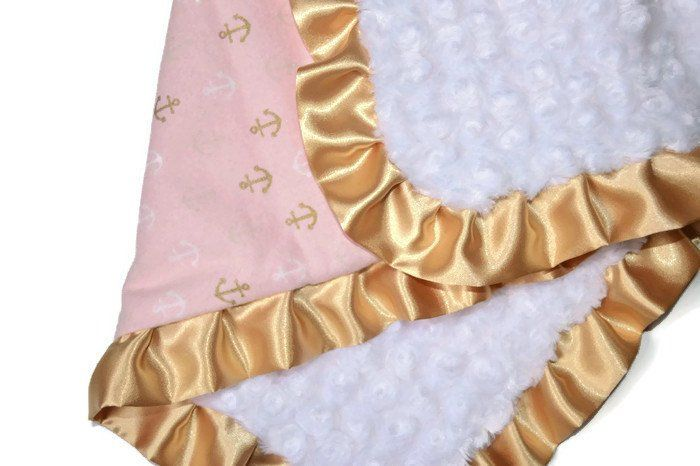 Gold anchors baby blanket |  pink minky baby blanket | pink and gold nursery bedding | nautical baby blanket | gold crib bedding