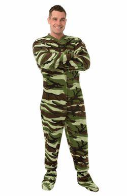 Big Feet PJs Green Camo Footed Pajamas for Adults,    #MatchingFootiePajamas,    #36324