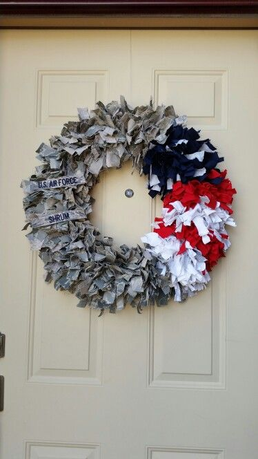 Military Air Force Wreath. I made this out of my husbands' uniforms when he retired.