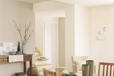 Dulux hog bristle. Like the contrasting wall in this colour with the whites/creams.
