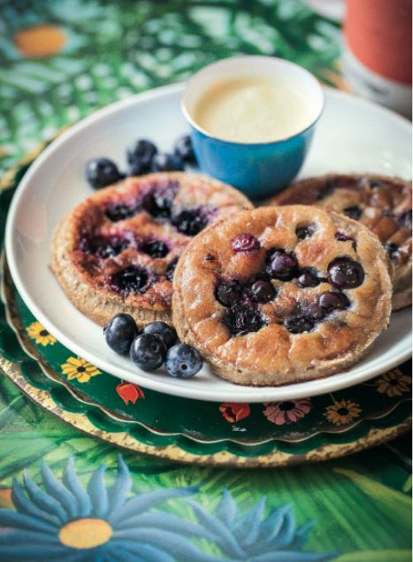 Blueberry Pancakes with Mango Cashew Cream, the yummiest of brunches! Find the recipe in The Art Of Eating Well.