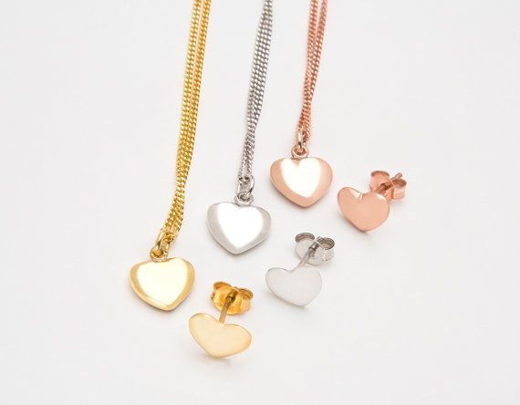 Set of heart necklace and earrings by elegantjewelbox, $30.00