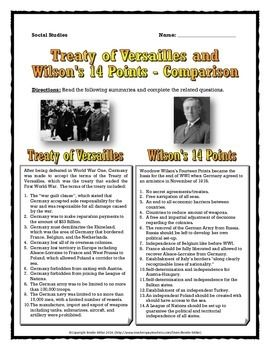 this is an excellent 6 page handout dealing with the treaty of versailles and woodrow wilson 39 s. Black Bedroom Furniture Sets. Home Design Ideas