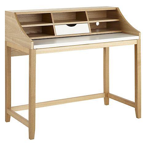 Buy John Lewis Loft Desk, White/Oak Online at johnlewis.com