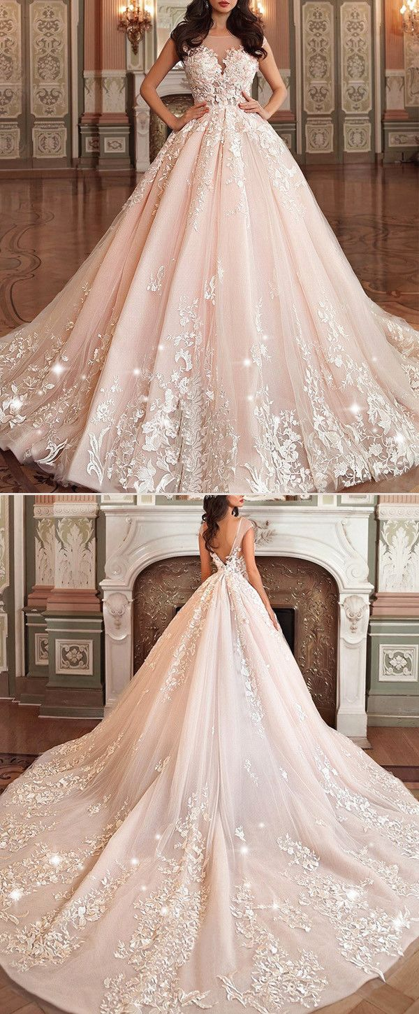 NEW! Stunning Tulle & Organza Bateau Neckline Ball Gown Wedding Dress With Lace Appliques & 3D Flowers & Beadings