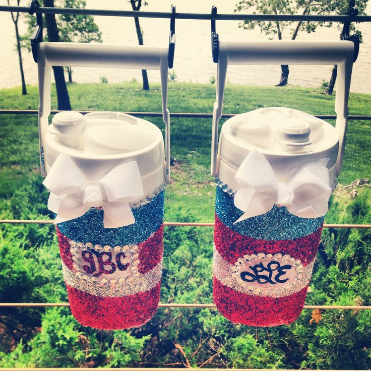 Painted Coolers | Monogrammed red white and blue mini coolers! #glitter #sparkle #merica #bows