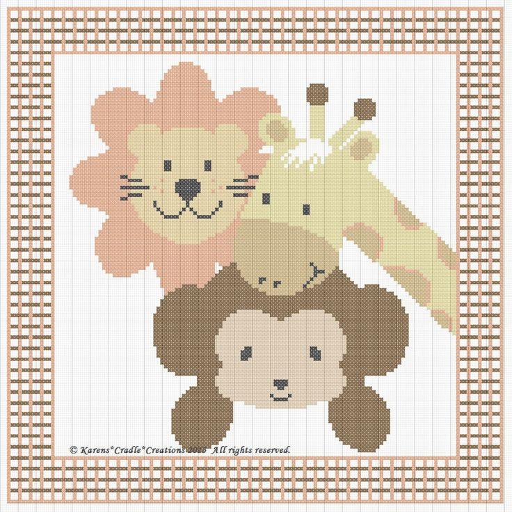 ZOOLÓGICO leão/macaco/girafa contados transversal ponto padrão gráfico (10 x 10 cm) * fácil * in Artesanato, Fios e materiais para costura, bordados, tricô e crochê, Ponto-cruz e hardanger | eBay