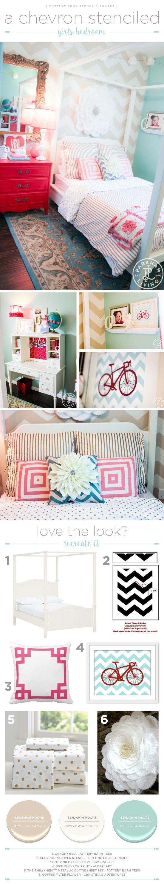 112 best stenciled bedrooms images on pinterest wall stenciling cutting edge stencils shares a diy girls stenciled bedroom accent wall using the chevron allover stencil