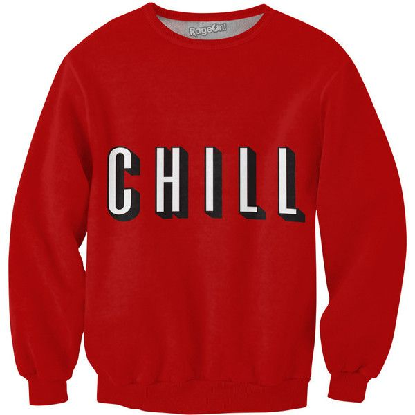 Chill Sweatshirt found on Polyvore featuring tops, hoodies, sweatshirts, shirts, sweat shirts, red sweatshirt, all-over print shirts, all over print sweatshirts and red top