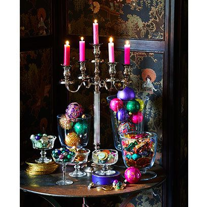 Christmas baubles and candles. For more like this, click the picture or visit RedOnline.co.uk