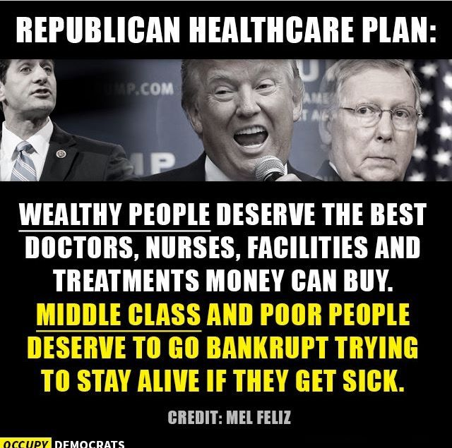 Most Americans are just a small step from bankruptcy should they face a serious chronic illness or injury. The 1% don't care about health care because, with their billions, they don't need insurance - they have the ability to pay for their medical costs. Wake Up America.