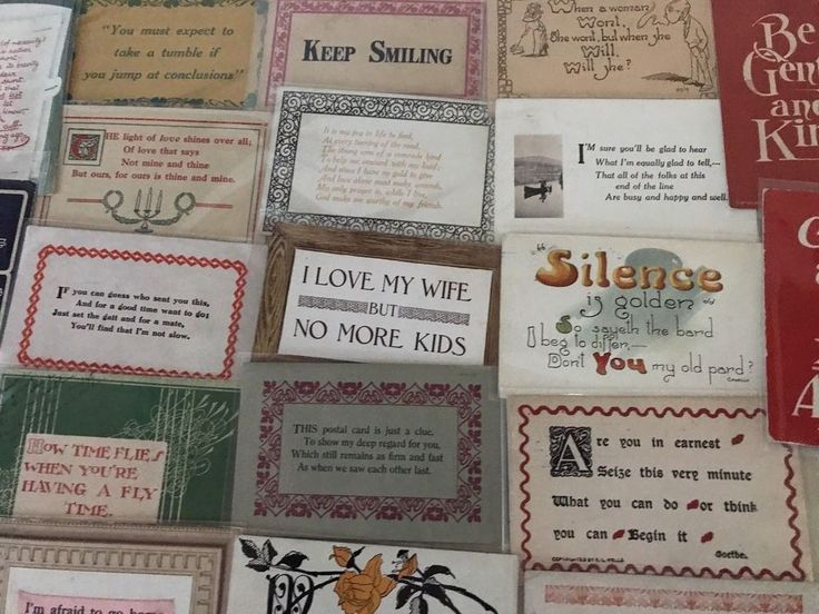 Lot of 27 VINTAGE old GREETING HOLIDAY postcards ART CRAFTS Sayings MOTTO-p602