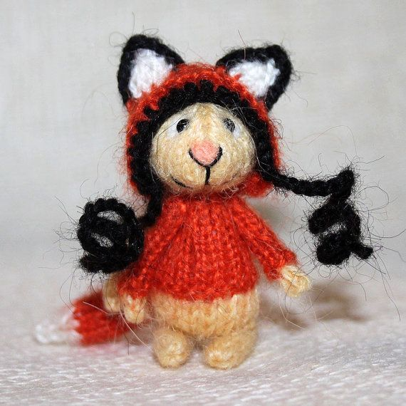 Bunny in the Fox hat by SecretFriends on Etsy