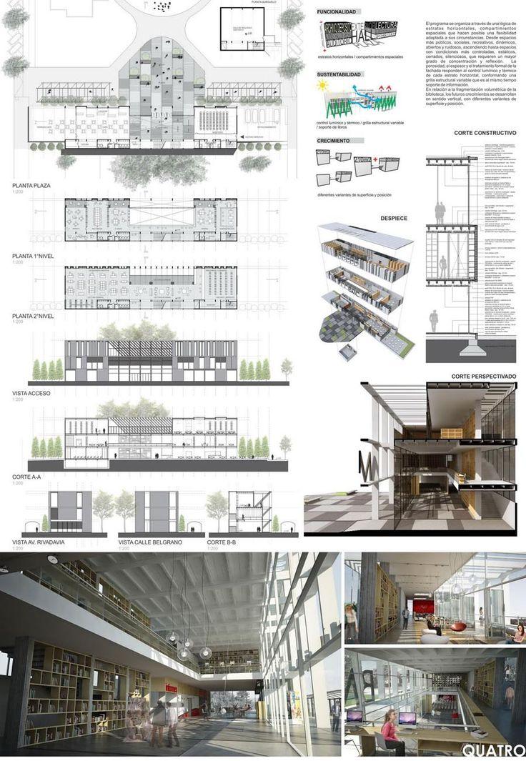 M s de 25 ideas fant sticas sobre laminas de presentacion for Programa arquitectonico biblioteca