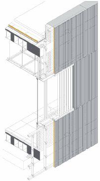 Los paneles de GRC se realizaron sobre moldes de goma con un dibujo de estrías verticales desordenadas