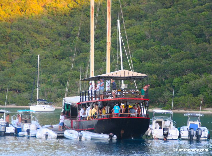 The Willy T - a bar in a boat in The Bight at Norman Island, BVI's. Good rum punch and a great party!