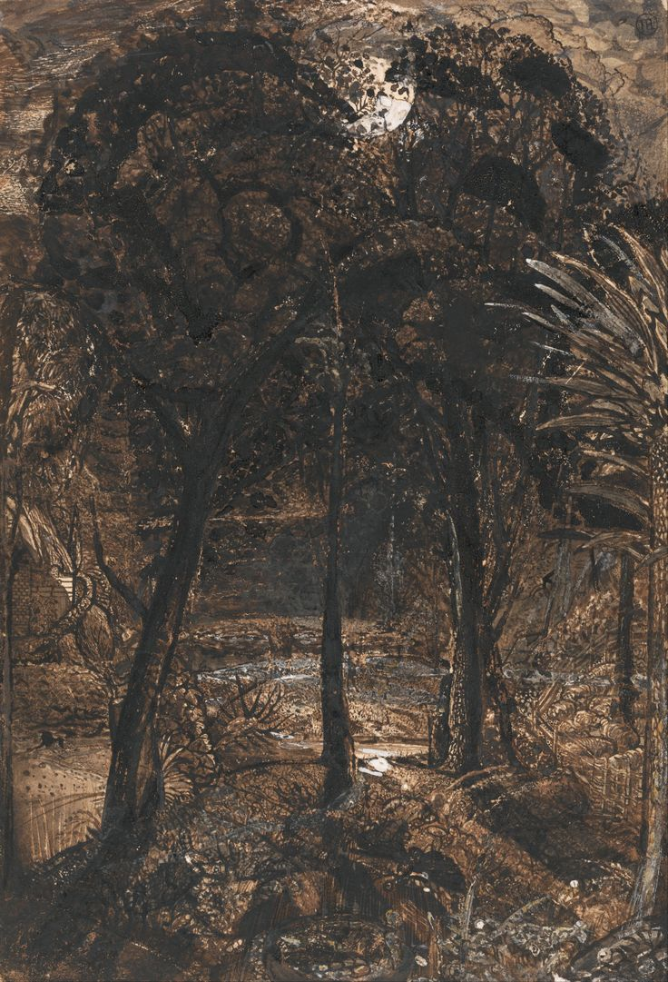 """Samuel Palmer, Black and brown wash, gouache, and gum on wove paper"""""""