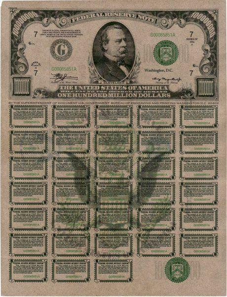 Federal Reserve Bank of Chicago, Illinois 1934 Series E Federal Reserve Note coupon bond serial number G00065851A ( obverse ) reads one hundred million.