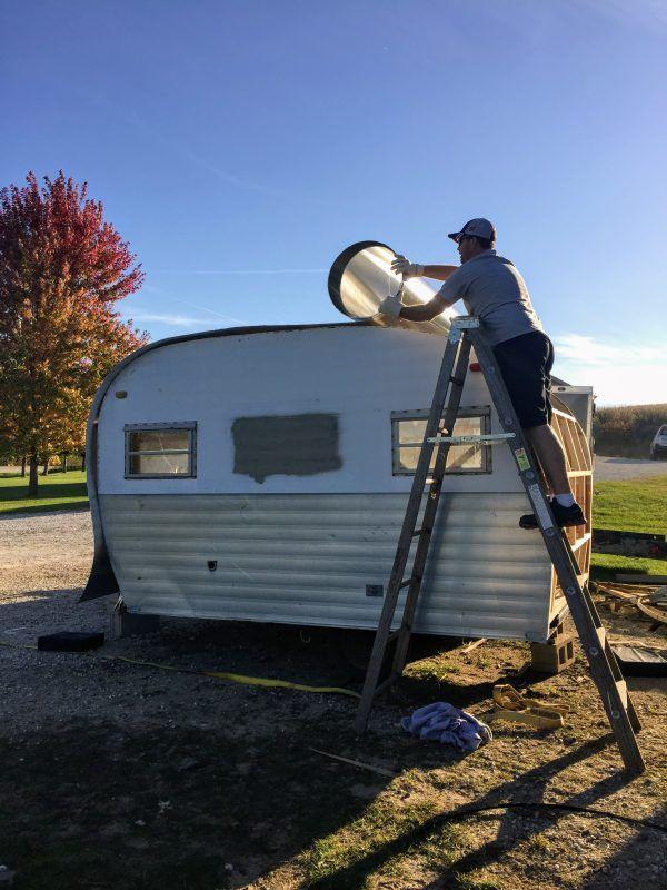 Rolling The New Roof On My Vintage Camper Glamper Camper