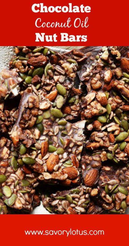 Chocolate Coconut Oil Nut Bars - www.savorylotus.com #coconutoil