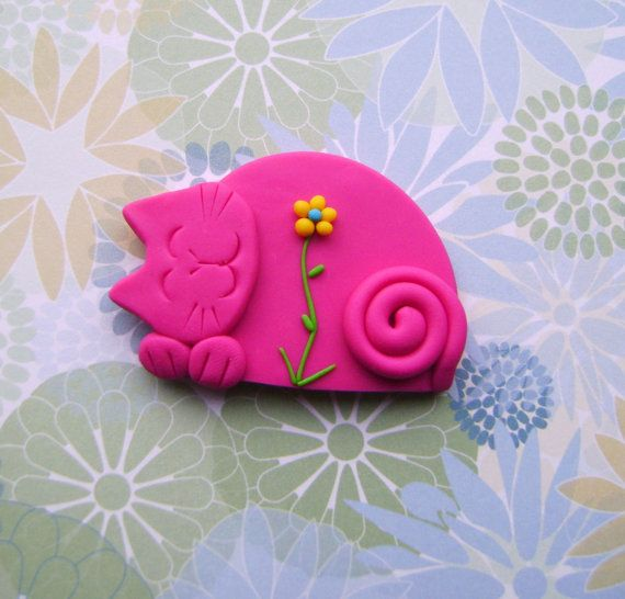Fimo Polymer Clay Pink Cat with Flower Brooch Pin or Magnet on Etsy, $10.00