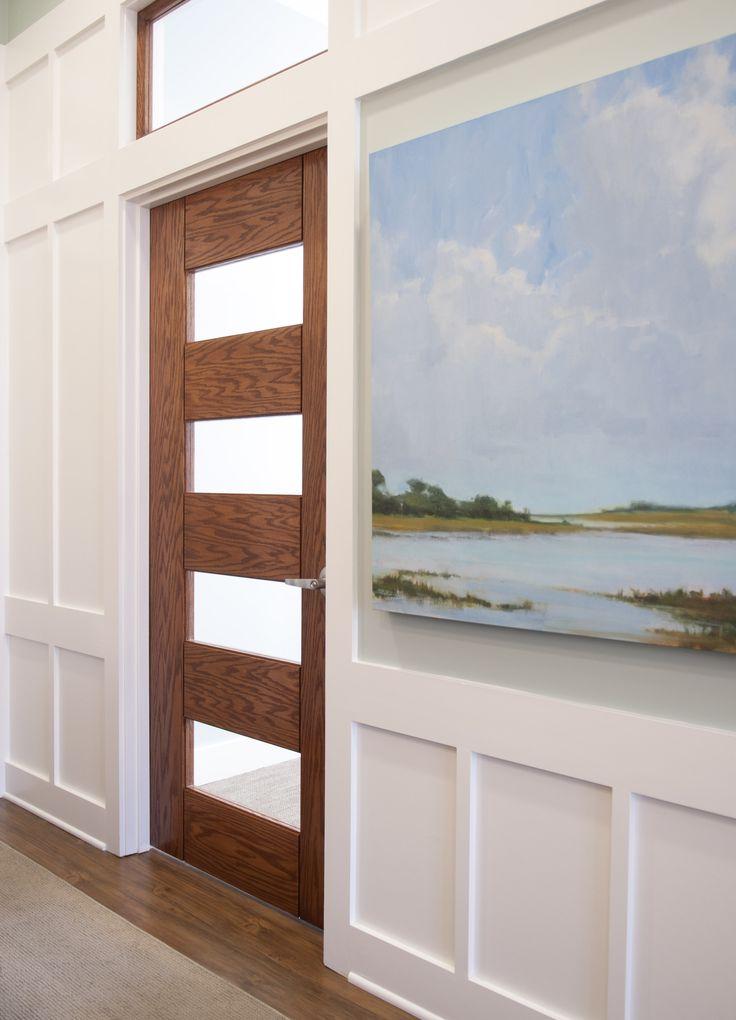 Trustile Doors Tm9160 In White Oak With White Lami Glass