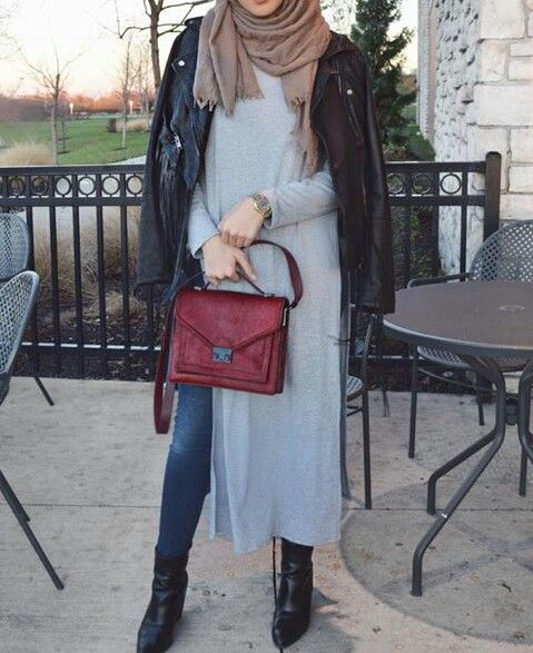Ribbed dress leather jacket black boots and jeans. She is my fav fashion blogger