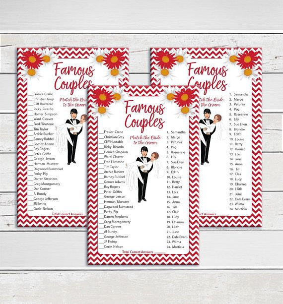 This Famous Couples Bridal Shower Game is fun to play as well as challenging. This game is an instant download featuring a deep red theme with red chevron, red flowers, and white flowers ============================== WANT THIS ITEM CUSTOMIZED? ================...