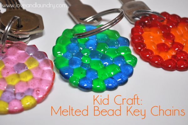 Melted Bead Keychains - A pretty summer craft for kids to make. Give them as gifts or save them for yourself.