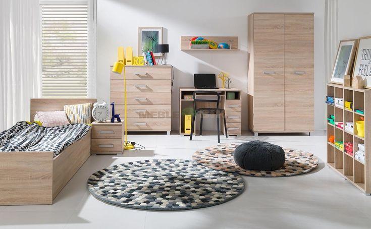 Meble młodzieżowe z łóżkiem i biurkiem Maximus dąb sonoma - Maridex - sklep meblowy Meble BIK