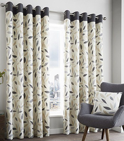 "Brandy Fully Lined Curtains 90"" x 90"" Leaf Print Charcoal Slate Grey Cream Modern Pair Of Ready Made Eyelet Ring Top Hallways ®"