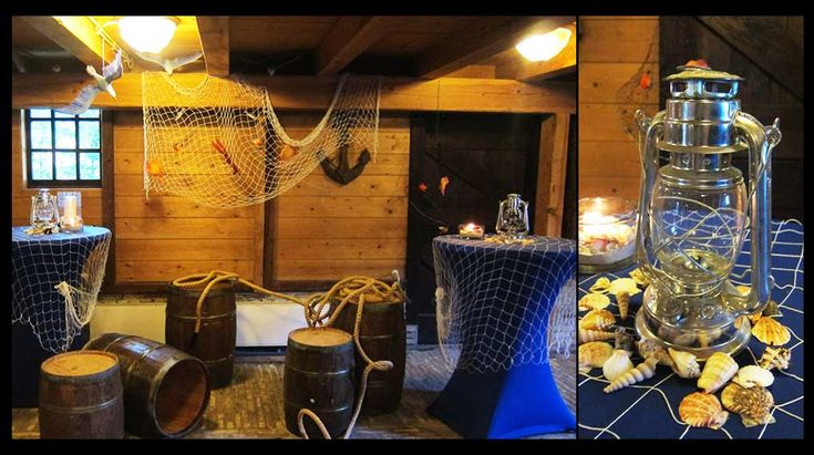 Nautisch maritiem themafeest  | Tonnen, netten, statafel, anker, schelpen, zeemeeuw, touw, sfeer, thema, aankleding, decoratie, nets, rope, shells, decoration, dressing