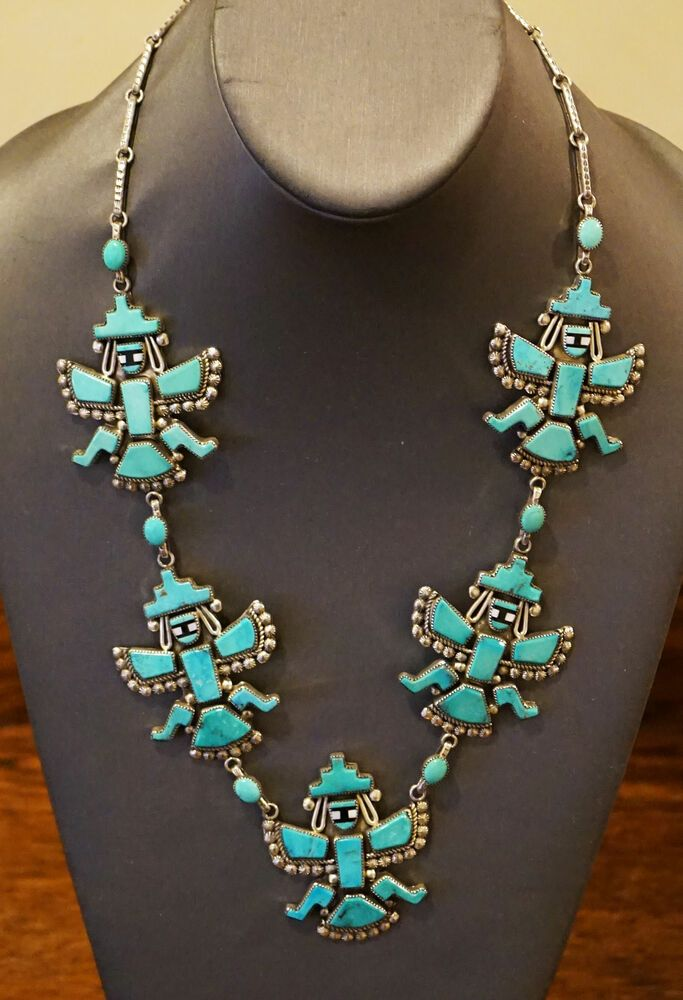 Vintage Zuni Inlay Knifewing Necklace Sterling Silver Turquoise Leonard Martza Handmade Necklace Silver Jewellery Indian Jewelry Turquoise Jewelry