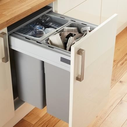 Kitchen Side Mounted Pull Out 68ltr Waste Bin 3 Bins - Integrated ...