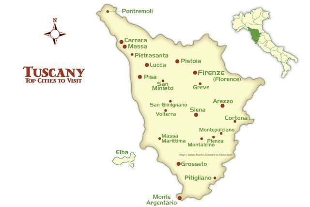 Map of Tuscany with the best cities for tourists to visit, from great Renaissance centers like Florence to Tuscan hill towns and famous spas.