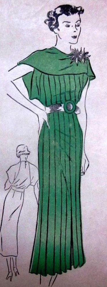 Vintage 1930s Clotilde 2708 Pleated ShoulderTrim Dress Pattern Size 16 Unused 17
