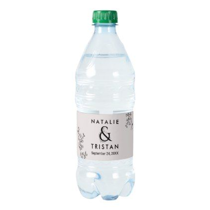 Floral Ampersand Wedding Water Bottle Label - romantic wedding love couple marriage wedding preparations