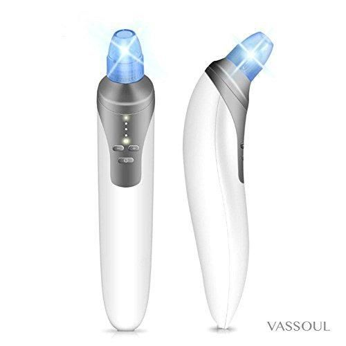 Blackhead Remover Blackhead Extraction Tool Comedo Suction Microdermabrasion Diamond Machine by Vassoul  Electronic Facial Pore Cleaner Acne Remover ( White)