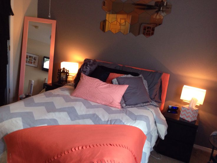 Coral peach grey chevron bedroom my pins pinterest for Blue and peach bedroom ideas