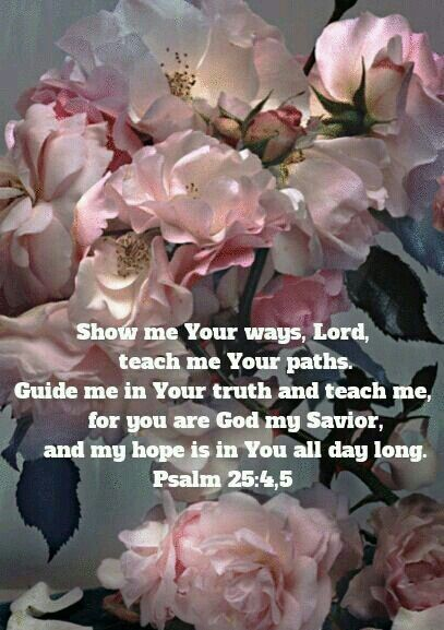 """*♥♥♥* """"Show me Your ways, Lord, teach me Your paths. Guide me in Your truth and teach me, for you are God my Savior, and my hope is in You all day long."""" Psalm 25:4,5"""