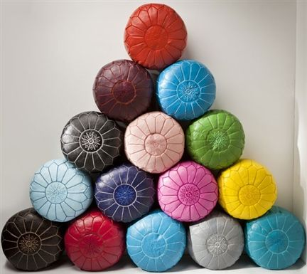 Moroccan Leather Ottomans See Habibi at Reed Gift Fairs Melbourne August Stand: SG1432