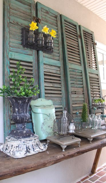 Vintage shutters for the French farm look at Vintage American Home!